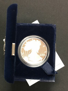 2003 W AMERICAN SILVER EAGLE PROOF WITH ORIGINAL BOX AND COA   ENN COINS