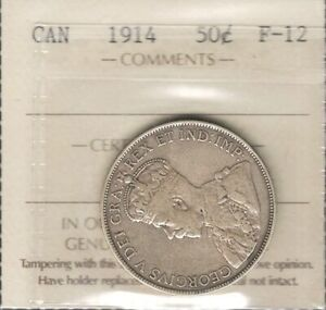 1914 FIFTY CENTS ICCS F 12   NICE  DATE LOW MINTAGE KEY GEORGE V HALF