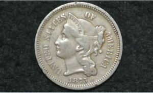 1875 THREE CENT NICKEL 3C    XF     LOW MINTAGE YEAR    ONLY 228K MINTED