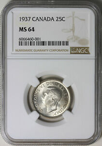 1937 CANADA TWENTY FIVE 25 CENTS NGC MS64 LOVELY PIECE
