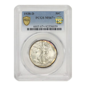 Click now to see the BUY IT NOW Price! 1938 D 50C SILVER WALKING LIBERTY HALF DOLLAR PCGS MS67  GEM GRADED DENVER COIN