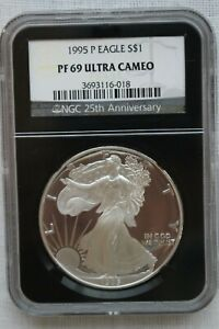 1995 P PROOF SILVER EAGLE   NGC BLACK 25TH ANNIVERSARY HOLDER PF69 ULTRA CAMEO