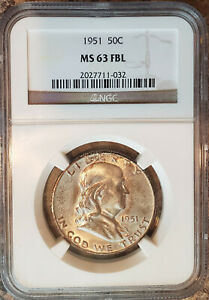 1951 NGC MS 63 FBL FRANKLIN SILVER HALF DOLLAR MINT 50C FULL BELL LINES CHOICE