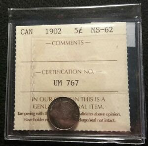 CANADA 1902 5 CENTS ICCS GRADE CERTIFIED MS 62 HIGH GRADE STERLING SILVER COIN
