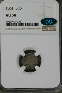 NICE ALMOST UNCIRCULATED 1861 THREE CENT SILVER    NGC AU58CAC