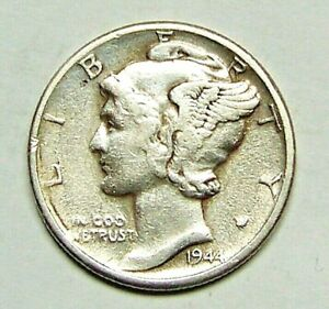 1944 D  DENVER  MINT SILVER MERCURY HEAD DIME ..USPS TRACKING INCLUDED..90726204
