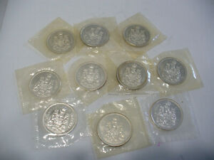 Click now to see the BUY IT NOW Price! LOT OF  10 1965  CANADA  SILVER 1/2 $  FIFTY  50 CENT PIECE   COINS  LOT A
