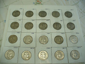 Click now to see the BUY IT NOW Price! LOT OF 20 1934  1963  USA  HALF DOLLAR SILVER COINS  50 CENT PIECES   90