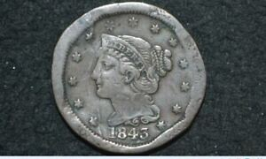1843 LARGE CENT   MATURE HEAD   VF DETAILS    SPOONED