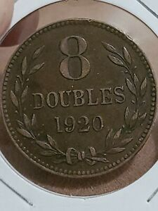 1920 GUERNSEY 8 DOUBLES LARGE COIN KM14 MINTAGE 157 000