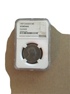 CANADA CANADIAN NGC VF CLEANED 1907 50 CENTS HALF DOLLAR. BARGAIN PRICE