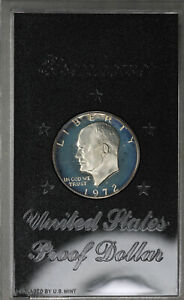 DOUBLED DIE 1972 S EISENHOWER DOLLAR 40  SILVER PROOF WITH BROWN BOX  FS 301