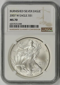2007 W BURNISHED AMERICAN SILVER EAGLE $1 MS 70 NGC