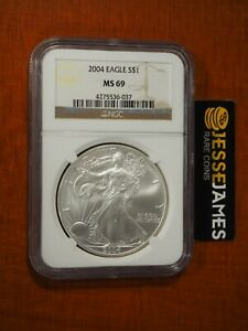 2004 $1 AMERICAN SILVER EAGLE NGC MS69 CLASSIC BROWN LABEL
