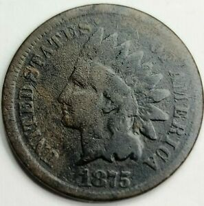 1875 INDIAN HEAD 1 CENT USA PENNY. SEMI KEY DATE