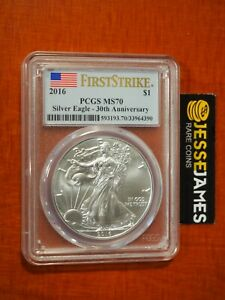 2016 $1 AMERICAN SILVER EAGLE PCGS MS70 FLAG FIRST STRIKE LABEL