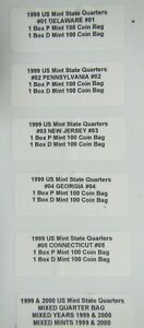 Click now to see the BUY IT NOW Price! ALL 10 1999 P&D STATE QUARTER SEALED BAGS OF 100 QUARTERS 1000 QUARTERS TOTAL