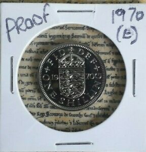 1970 PROOF ENGLISH SHILLING 1/  ENGLISH SHIELD VERSION FROM SET NEVER CIRCULATED