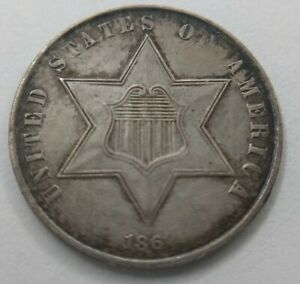 1861 THREE CENT SILVER TRIME AU ABOUT UNCIRCULATED ALMOST MS ERROR MEDAL ALIGNED