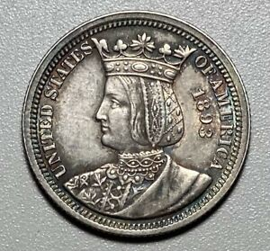 1893 ISABELLA COMMEMORATIVE SILVER 25C QUARTER WITH TONING