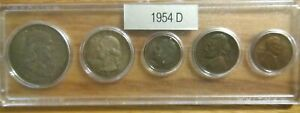 1954 D SILVER 50C 25C 10C US MINT SET 5 COINS IN A PLASTIC NICE WHITMAN HOLDER 3