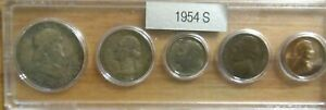 1954 S SILVER 50C 25C 10C US MINT SET 5 COINS IN A PLASTIC NICE WHITMAN HOLDER 4