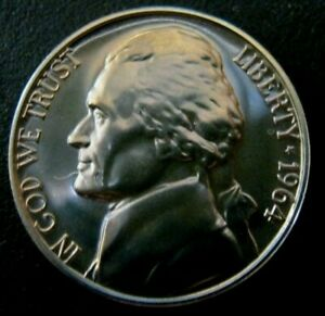 1964 PROOF JEFFERSON NICKEL 5 CENT COIN FREE SHIP