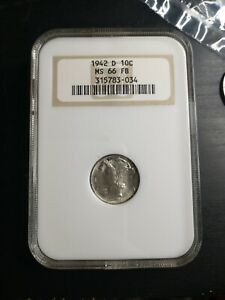 1942 D MERCURY DIME NGC MS66FB OLD HOLDER OH FATTY SUPER  GEM UNCIRCULATED