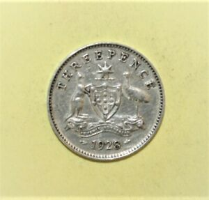 AUSTRALIA 3 PENCE 1928 FINE / LY FINE SILVER COIN   KING GEORGE V
