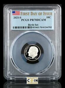 2021 S CLAD PROOF ROOSEVELT DIME PCGS PR70 DCAM FIRST DAY OF ISSUE BIRTH SET