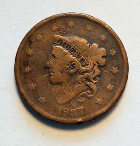 1837 LARGE CENT CORONET HEAD EARLY DATE