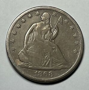 1868 LIBERTY SEATED HALF DOLLAR WITH MOTTO 50C SILVER 90  SILVER / TYPE COIN
