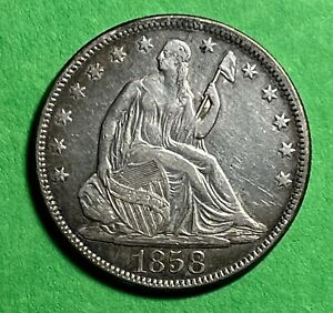 1868 LIBERTY SEATED HALF DOLLAR WITH MOTTO 50C SILVER 90  SILVER / TYPE COIN VF