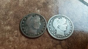 1892 AND 1895 BARBER QUARTERS BOTH IN GOOD PLUS CONDITION THE 1892 IS A LITTLE