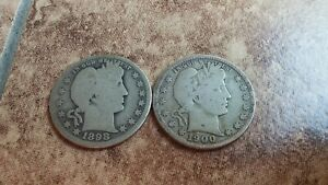 1898 O  GOOD  AND 1900 S  VERY GOOD  BARBER SILVER QUARTERS FOR SALE
