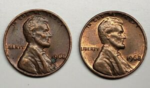1968 UNITED STATES LINCOLN CENT PENNY NO MINT MARK ERROR  2 COIN LOT