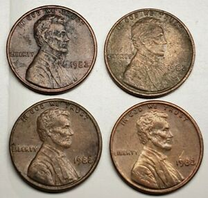 1982 LARGE DATE NO MINT MARK ERROR LINCOLN MEMORIAL CENT PENNY  4 COIN LOT