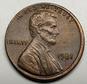 1981 LINCOLN MEMORIAL CENT PENNY NO MINT MARK AND OFF CENTER OBVERSE ERROR