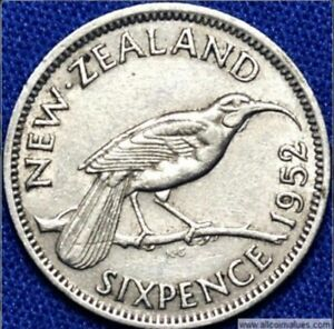 NEW ZEALAND 1952   SIXPENCE  6D   HARD TO FIND COIN   LAST YEAR OF KGVI