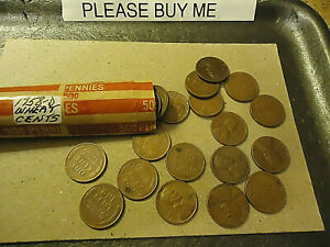 1958 D LINCOLN PENNY WHEAT ROLL      >> TRACKING INCLUDED <<