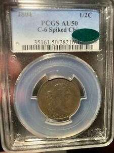 1804 DRAPED BUST HALF CENT C 6 SPIKED CHIN PCGS AU 50 BN CAC. EXCEPTIONAL RARITY