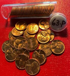 1963 P LINCOLN MEMORIAL CENT ROLL    FROM MINT SEWN BAG   REDS