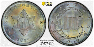 Click now to see the BUY IT NOW Price! 1851 PCGS MS67  3CS THREE CENT SILVER TIED FOR FINEST REGISTRY