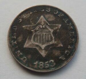 1853 THREE CENT SILVER AU ABOUT UNCIRCULATED TRIME DETAILS ENVIRONMENTAL DAMAGE