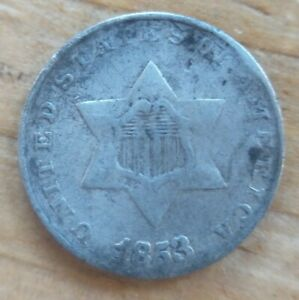 1853 THREE CENT SILVER TRIME RPD FS 301 VARIETY 3C FINE VF OR XF DETAILS