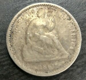 1861/0 OVERDATE SEATED LIBERTY HALF DIME   FS 301 WEAKLY STRUCK FINE? DETAILS