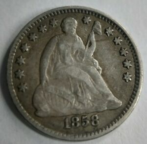 1858 SEATED LIBERTY HALF DIME FINE VF OR XF LY FINE