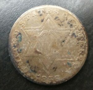 1856 3 THREE CENT SILVER TYPE 2  3 LINE  TRIME LY FINE TONED XF