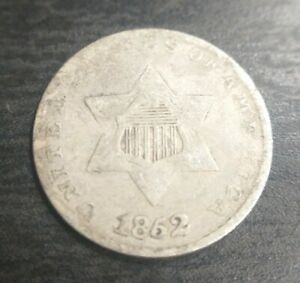 1852 THREE CENT SILVER 3C TRIME FINE VF OR LY FINE XF PROBLEM FREE