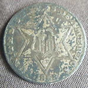 1858 THREE CENT SILVER PIECE TRIME 3C ABOUT UNCIRCULATED DETAILS OLD CLEANING